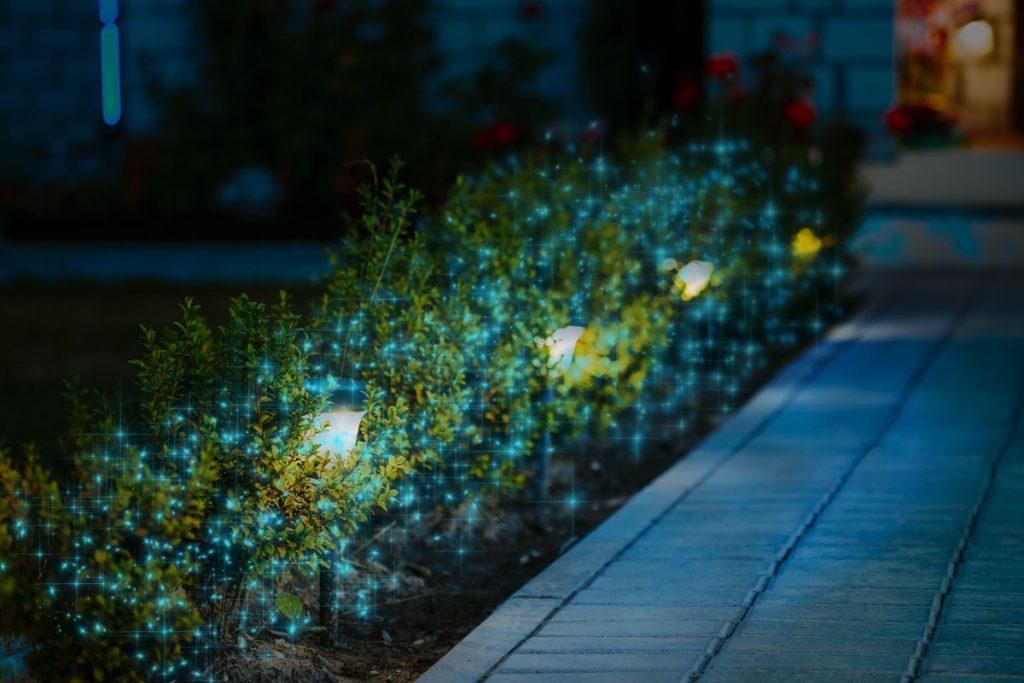 Blue Fairy Lights Flowerbed Décor